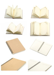 Collection of open notebook- blank pages on white