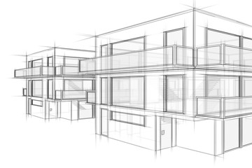 Häuser Architektur Skizze