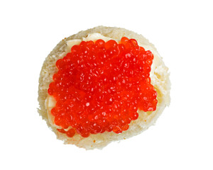 sandwich with red caviar isolated on white background