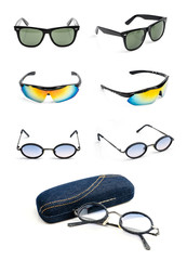 sunglasses collection isolated on white