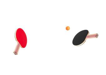 Rackets for ping-pong playing ball on white background