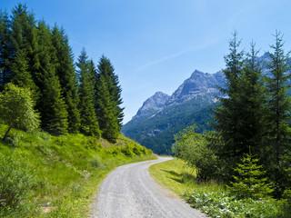 Schotterpiste in den Alpen