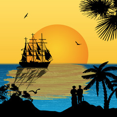 Ancient ship sailing at tropical sunset
