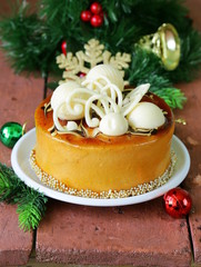 festive beautiful caramel biscuit cake with white chocolate