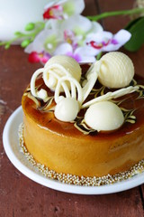 festive beautiful caramel biscuit cake decorated with chocolate