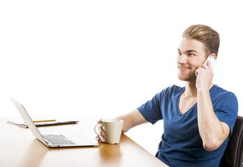 Young man and talking at phone