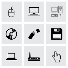 Vector black computer icons set