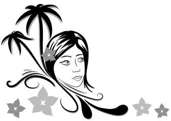 decorazione donna palme