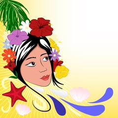 sfondo estivo tropicale donna