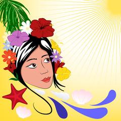 sfondo donna tropicale