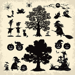 Halloween objects and subjects set silhouette