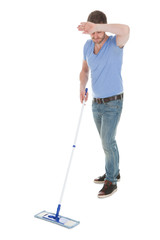 Tired Man Mopping Floor Over White Background