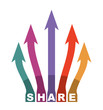 Share icon illustration with arrows