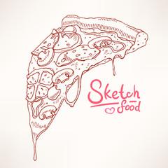 hand-drawn pizza