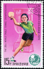 stamp printed by North Korea shows ping-pong players