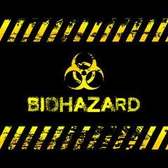 Grunge biohazard illustration - yellow caution tapes and symbol