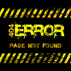 Page not found - error - grunge style yellow caution tapes