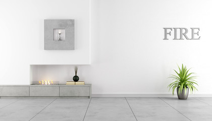 Minimalist interior with fireplace