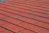 Red asphalt shingles