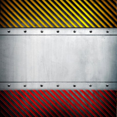 metal layout with caution stripes