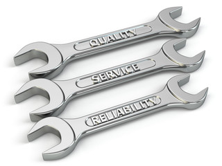 Wrench, spanners. Concept of service, quality and reability.