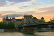 View of Secheni Bridge at sunrise, Budapest, Hungary