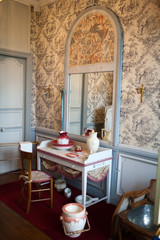 In style kept rooms in the castle Valencay. Loire Valley. France