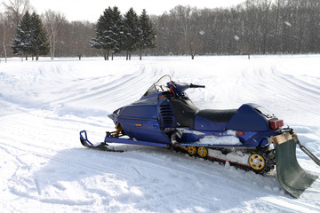 A snowmobile in winter season.