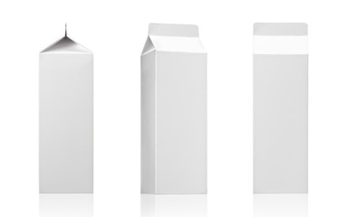 Milk, juice or beverage carton pack. White paper box package