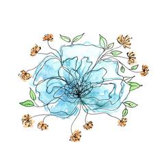 Blue flower. Watercolor floral background.