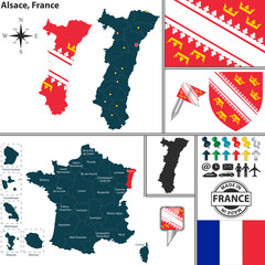 Map of Alsace, France