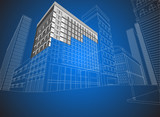 Townscape wireframe on a blue background poster