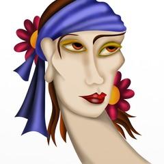 donna con fascia viola tra i capelli