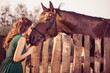 woman kissing brown horse over wooden fence