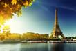 canvas print picture - Seine in Paris with Eiffel tower in autumn season
