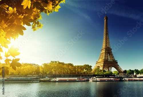 Poster Seine in Paris with Eiffel tower in autumn season