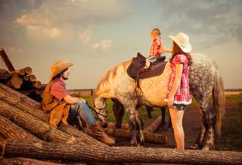 farm family and horse