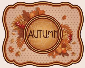 Vintage seasonal autumn card, vector illustration