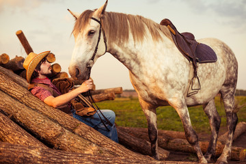 man and his white horse