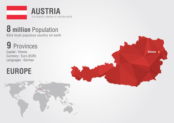 Austria world map with a pixel diamond texture.