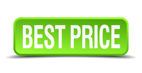 best price green 3d realistic square isolated button