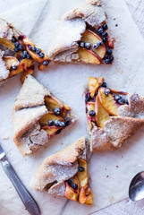 cut biscuits with peach and blueberry