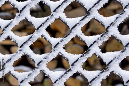 canvas print picture Schnee am Zaun