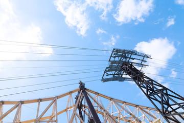 Queensboro Bridge and Tramway bearings against cloudy blu sky