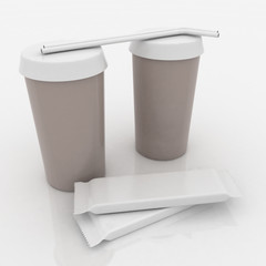 Plastic fast food glasses with tubules and chocs on white