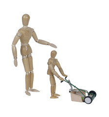 Adult Supervising Child using Push Style Lawn Mower