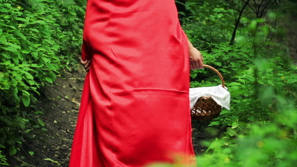 Red riding hood with basket walking in forest, super slow motion