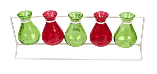 Line of Colored Beakers on a Stand