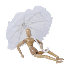 Laying Back Holding an Umbrella
