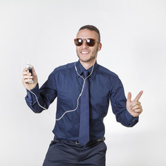 businessman listening music